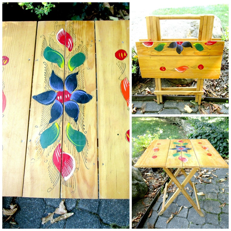 Vintage Table Foldable Portable Side Table Hand Painted image 0