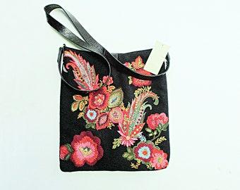 Vintage Embroidered Purse, Shoulder Bag, Sigrid Olsen, Black Felt, Original Tags, Never Used, Excellent Condition