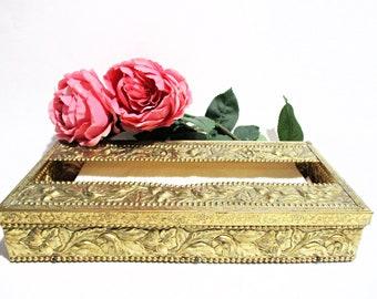 Ormolu Tissue Box, Gold Brass Filigree, Tissue Holder, 2pc, Hollywood Regency Bath Decor