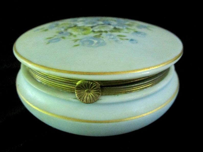 Vintage Lidded Trinket Dish Bisque Porcelain Round Jewelry image 0