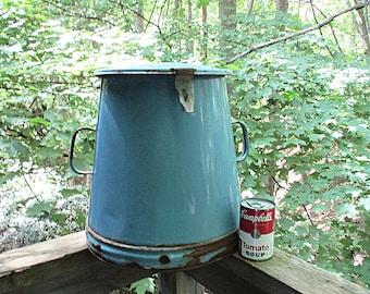 Large Enamelware Goulash Pot, Buda Fok, Made in Hungary, Lidded, Vented, Antique Blue Enamelware Cookware