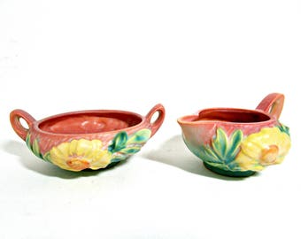 Roseville Pottery Peony, Creamer and Sugar Bowl, Pink Blue Green Yellow, American Art Pottery, Ohio Art Pottery, Zanesville Ohio