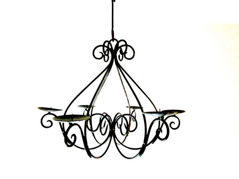 Black Wrought Iron Hanging Candle Holder Candle Chandelier image 0