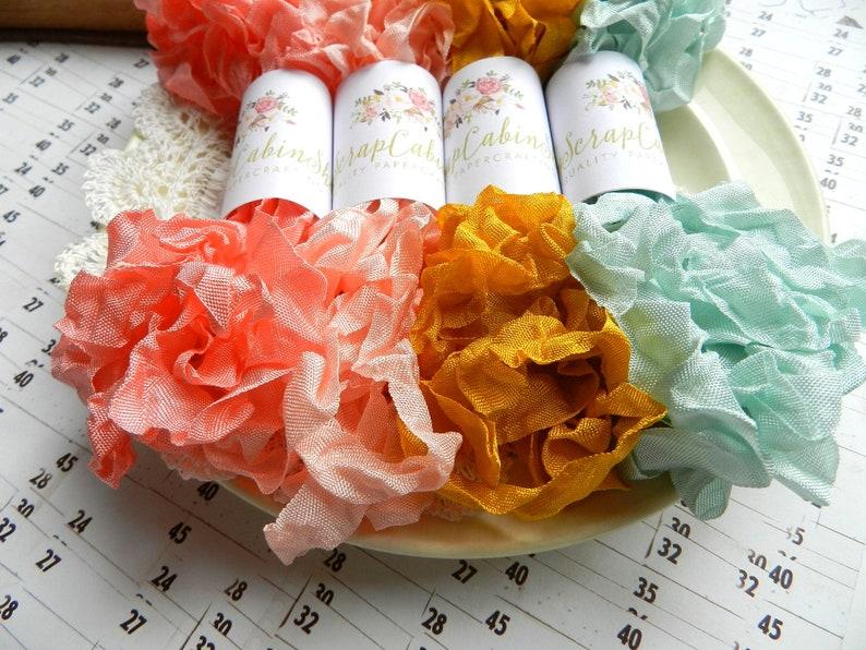 Apricot Lyric Crinkled Seam Binding Bundle Set  Crinkly Ribbon  20 Yards  Salmon Sea Mist  Gift Wrap  Junk Journal Accessories