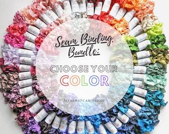 Seam Binding Bundle / Choose Your Color / 5 Yards / Hand Crinkled Seam Binding / Hug Snug Seam Binding / Seam Binding Crinkled / Gift Wrap
