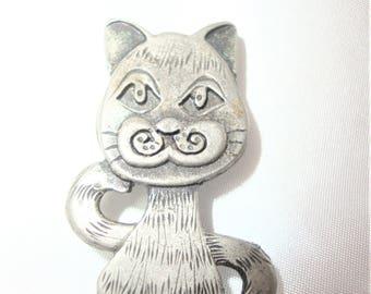 Metzke Cat Pin Pewter