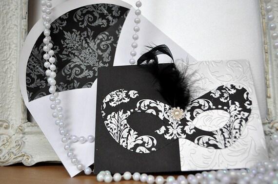 Masquerade Wedding Invitations: Black And White Masquerade Invitation For Wedding