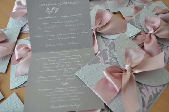 Dusty Rose And Silver Wedding Invitation Tied With Large Satin Etsy
