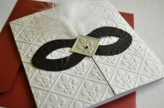 Black White Burgundy Red Masquerade Invitation For Wedding