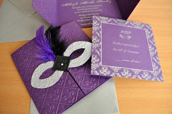 Black And Silver Wedding Invitations: Masquerade Invitations Purple Black Silver/ Wedding /