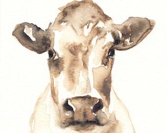 Fine Art Print reproduction of original watercolor cow | Etsy