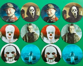 Halloween Birthday Party Decorations Personalized Scary Horror Movie Icon Edible Cupcake or Drink Toppers