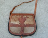 Vintage 70 39 s Moroccan Stamped Leather Hide Purse