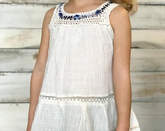 Vintage Girls Mexican Crocheted Gauze Boho Dress 3