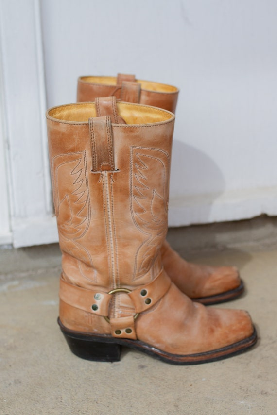 188cd32915f Vintage Tan Leather Harness Motorcycle Frye Boots // Eagle Embroidery // 6