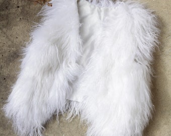 Adorable Vintage White Curly Lamb Fur Vest Small