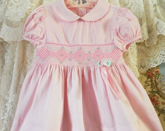 f66d8f990 Adorable Vintage Smocked 3T to 5T Toddler Easter Dress, Deep Hem, Puffed  Sleeves, Peter Pan Collar