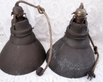 RESERVED For Tom - PAIR of Genuine Antique Industrial, Machine Age Mercury Glass Light Fixtures, Mirrored Glass, Original Bulbs, Steampunk