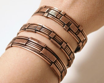 Handmade Copper Bracelet, Set of Copper Bracelets, For Women or Men, Copper Cuff Bracelet, Wire Wrapped Bracelet, Copper Jewelry Handmade