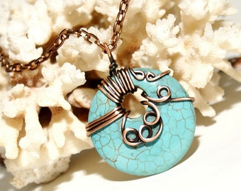 Copper Anniversary Gifts For Women, Wire Wrapped Turquoise Pendant Necklace, Natural Stone Necklace, Copper Jewelry,
