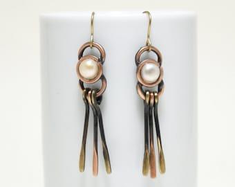 Long Copper Earrings, Copper Pearl Earrings, Copper Jewelry, Copper Dangle Earrings, Long Copper Earrings, Copper Anniversary, Gift for her