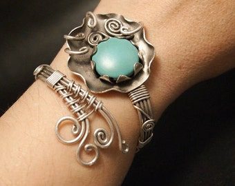 Silber Draht umwickelt Armband mit Türkis Armreif Türkis