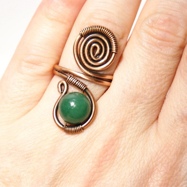Wire wrapped ring adjustable wire wrapped copper ring green jade ring copper jewelry copper ring wire wrapped jewelry handmade ring