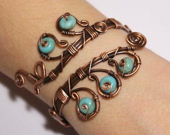 Turquoise Bracelet, Turquoise Cuff Bracelet, Copper Bracelet, Copper Jewelry, Copper Cuff Bracelet, Wire Wrapped Jewelry, Handmade Bracelet