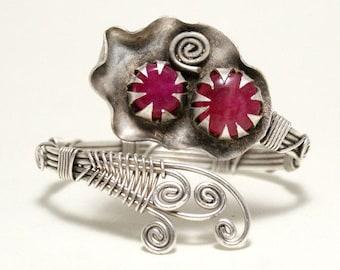 unique gifts for women, silver ruby bracelet, ruby cuff bracelet, ruby jewelry, wire wrapped bracelet, gemstone cuff bracelet