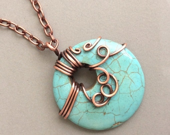 Turquoise Pendant Necklace, Turquoise and Copper Necklace, Copper Jewelry, Wire Wrapped Pendant, Copper Necklace, Wire Wrapped Necklace