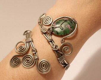 Draht umwickelt Rubin Armband Rubin Schmuck einzigartiges