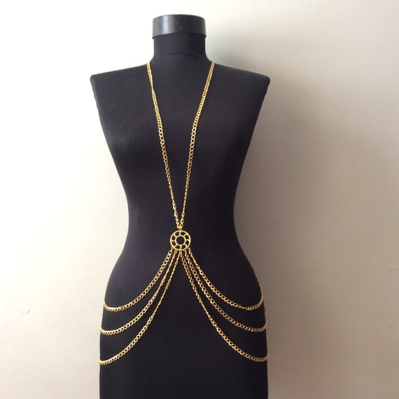 Body Chain Necklace Gold Body Chain Body Jewelry Chain Etsy