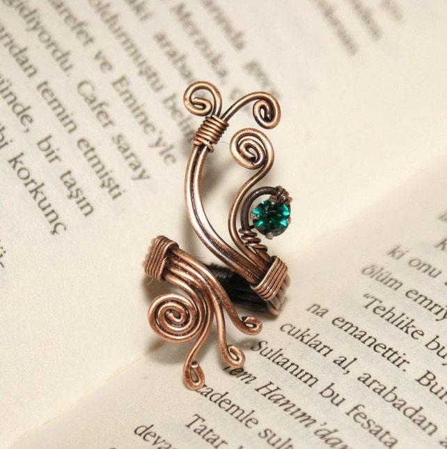 Draht gewickelt Ring-Kupfer Draht Schmuck-Ring-verstellbarer | Etsy