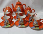 Satsuma Moriage Orange Teapot Cream and Sugar Plus 6 Cups and Saucer Set