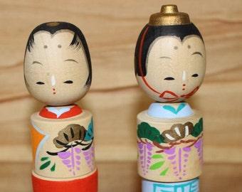Japanese Kokeshi Wooden Doll Pair Prince and Princess