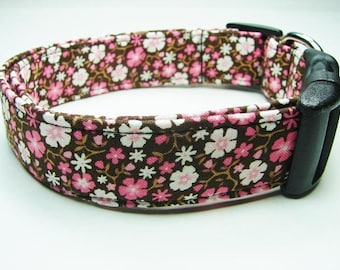 Brown, Pink & White Cowgirl Daisies Flowers Dog Collar