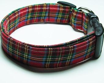 Red Tartan Scottish Plaid Dog Collar