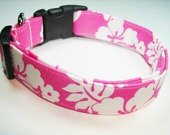Hawaiian Hot Pink Tropical Dog Collar