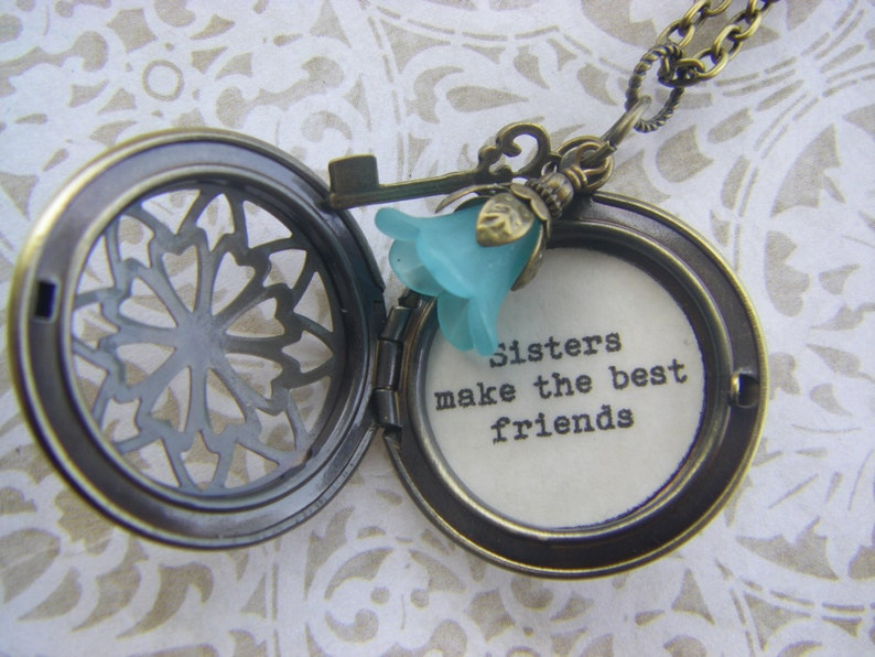 ff3d6ddfed608 Sisters Locket necklace, sisters make the best friends, antique brass  locket, bronze locket, sister gift