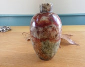 Chinese Agate Snuff Bottle Urn Shaped No Lid Red, Rust, Beige Colors