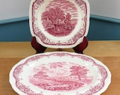 1 or 2 Grindley Red Transferware Scenes after Constable platter and or tray - idyllic rural depictions
