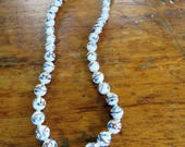 Asian porcelain bead necklace - hand knotted hand painted beaded necklace in blue white and BROWN filigree clasp unusual and pretty