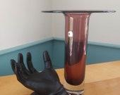 Blenko Hand Blown MCM Plum Colored Purple 10 1 2 quot Art Glass Vase