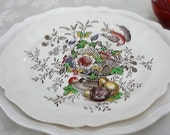 Royal Doulton Hampshire floral flowers birds serving platter D6141 original drawing by Cutts Circa 1840