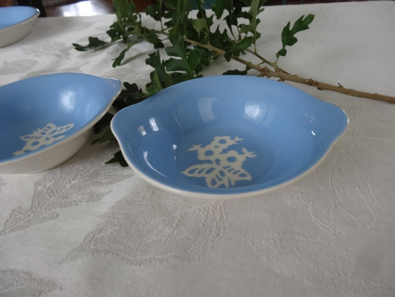 2 Harker Pottery Cameoware  Dainty Flowers Pattern blue cereal soup bowls with tab handles excellent condition