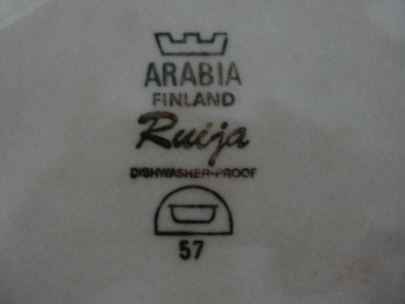 Arabia Finland Ruija round casserole souffle or vegetable bowl brown and black botanical pattern on beige mid century modern