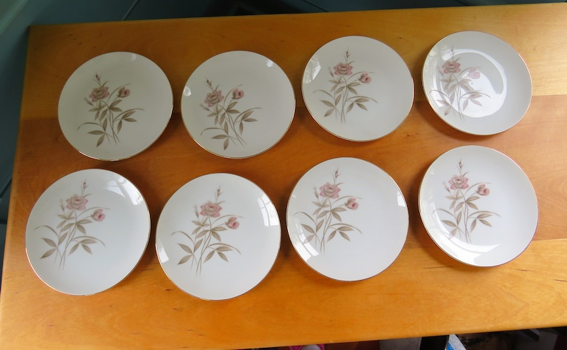 2 to 8 long stemmed pink rose with soft brown-gray leaves and stems Fine China -Royal Sovereign Blush Rose bread plates