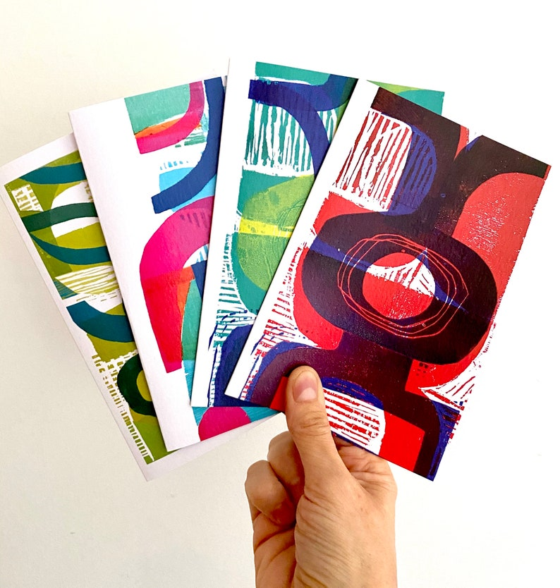 Set of four blank Abstract design greeting cards from original image 1