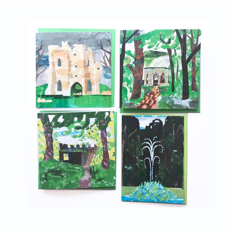 Set of four blank greeting cards inspired by the follies at image 0