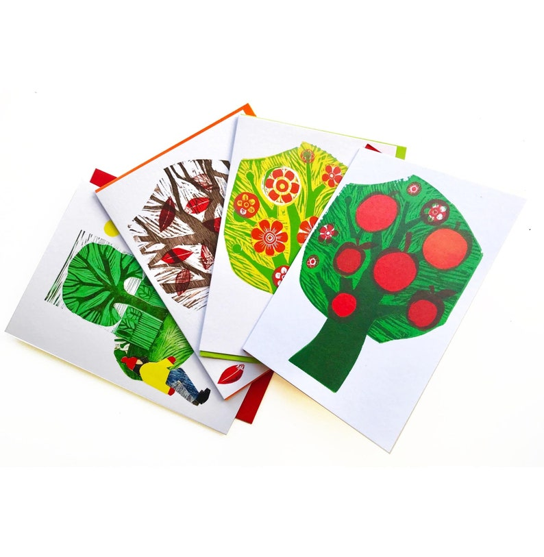 Set of four blank greeting cards from original Tree prints image 0
